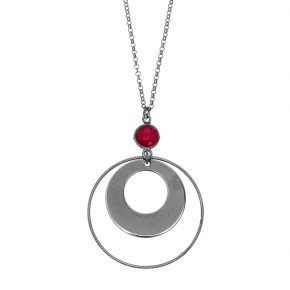 Necklace silver 925 black rhodium plated with ruby - Color Me