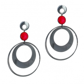 Earrings silver 925 black rhodium plated with ruby - Color Me