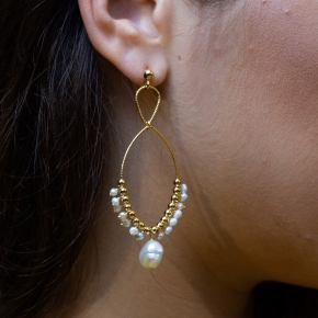 Earings silver 925 gold plated with pearls - Color Me
