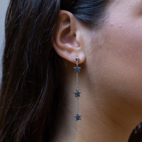 Earings in silver 925 rhodium plated with hematite - Simply Me