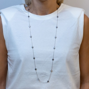 Necklace in silver 925 rhodium plated with hematite - Simply Me