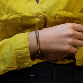 Bracelet silver 925 yellow gold plated with black rhodium plated - WANNA GLOW