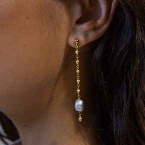 Earings silver 925 yellow gold plated with enamel stones and hematie - Color Me