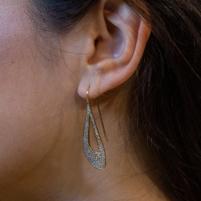 Earings silver 925 yellow gold plated with zirconia - WANNA GLOW