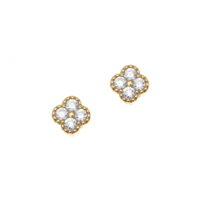 Earrings gold 14 carats with zirconia - My Gold