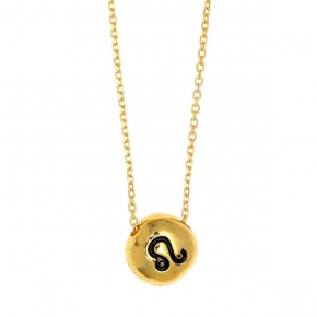 Necklace silver 925 zodiac (Leo) yellow gold plated with enamel - Wish Luck