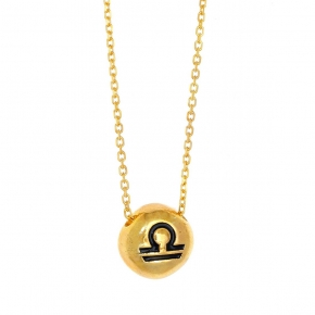 Necklace silver 925 zodiac (libra) yellow gold plated with enamel - Wish Luck