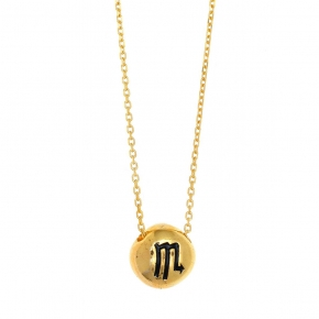 Necklace silver 925 zodiac (scorpio) yellow gold plated with enamel - Wish Luck