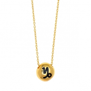 Necklace silver 925 zodiac (capricorn) yellow gold plated with enamel - Wish Luck