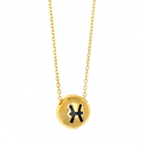 Necklace silver 925 zodiac (pisces) yellow gold plated with enamel - Wish Luck