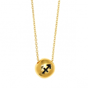 Necklace silver 925 zodiac (sagittarius) yellow gold plated with enamel - Wish Luck