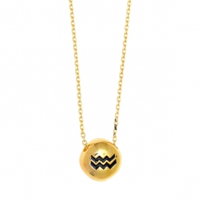 Necklace silver 925 zodiac (aquarius) yellow gold plated with enamel - Wish Luck
