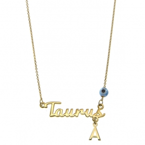 Necklace silver 925 zodiac (Taurus) yellow gold plated with monogram - Wish Luck