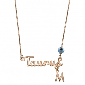 Necklace silver 925 zodiac (Taurus) pink gold plated with monogram - Wish Luck