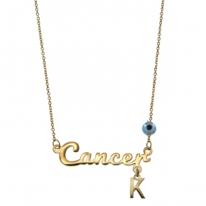 Necklace silver 925 zodiac (cancer) yellow gold plated with monogram - Wish Luck