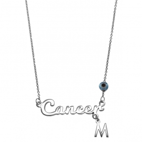 Necklace silver 925 zodiac (cancer) rhodium plated with monogram - Wish Luck