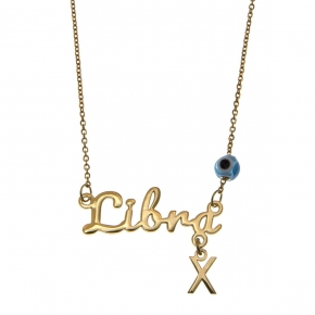 Necklace silver 925 zodiac (libra) yellow gold plated with monogram - Wish Luck