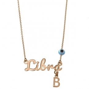 Necklace silver 925 zodiac (libra) pink gold plated with monogram - Wish Luck