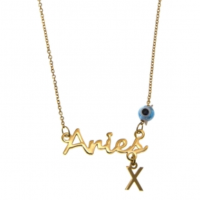 Necklace silver 925 zodiac (aries) yellow gold plated with monogram - Wish Luck
