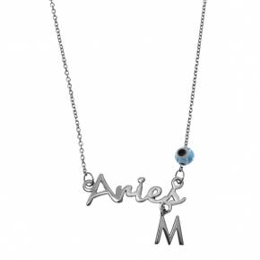 Necklace silver 925 zodiac (aries) rhodium plated with monogram - Wish Luck