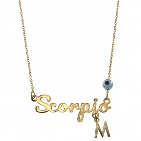 Necklace silver 925 zodiac (scorpio) yellow gold plated with monogram - Wish Luck
