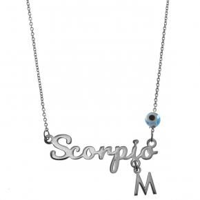 Necklace silver 925 zodiac (scorpio) rhodium plated with monogram - Wish Luck