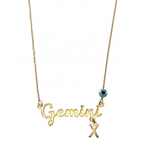 Necklace silver 925 zodiac (gemini) yellow gold plated with monogram - Wish Luck