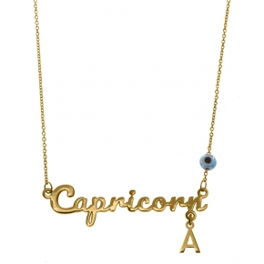 Necklace silver 925 zodiac (capricorn) yellow gold plated with monogram - Wish Luck