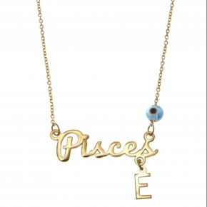 Necklace silver 925 zodiac (pisces) yellow gold plated with monogram - Wish Luck