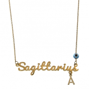 Necklace silver 925 zodiac (sagittarius) yellow gold plated with monogram - Wish Luck