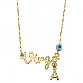 Necklace silver 925 zodiac (virgo) yellow gold plated with monogram - Wish Luck