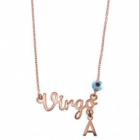 Necklace silver 925 zodiac (virgo) pink gold plated with monogram - Wish Luck