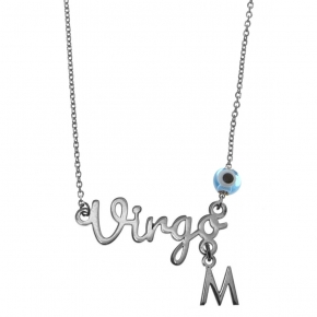 Necklace silver 925 zodiac (virgo) rhodium plated with monogram - Wish Luck