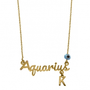 Necklace silver 925 zodiac (aquarius) yellow gold plated with monogram - Wish Luck