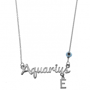 Necklace silver 925 zodiac (aquarius) rhodium plated with monogram - Wish Luck