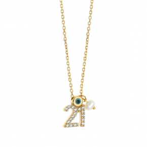 Necklace silver 925 yellow gold plated with zirconia - Wish Luck