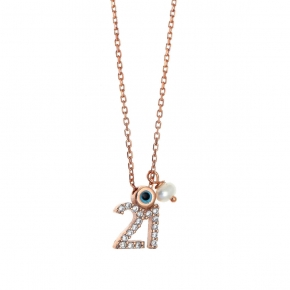 Necklace silver 925 rose gold plated with zirconia - Wish Luck