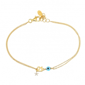 Bracelet silver 925 yellow gold plated with zircon - Wish Luck