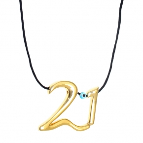 Necklace metal yellow gold plated with cord - Wish Luck