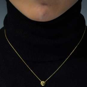 Necklace silver 925 zodiac (cancer) yellow gold plated with enamel - Wish Luck
