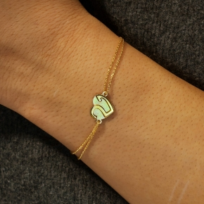 Bracelet silver 925 yellow gold plated - Wish Luck