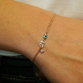 Bracelet silver 925 pink gold plated - Wish Luck