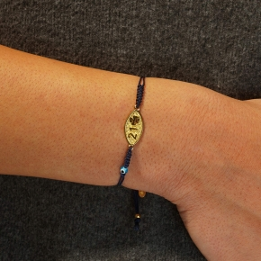 Bracelet silver 925 yellow gold plated with cord - Wish Luck