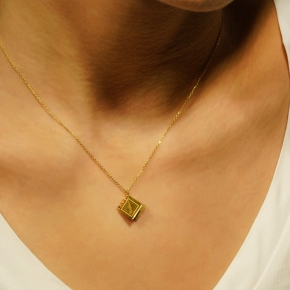 Necklace silver 925 yellow gold plated - Wish Luck