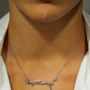 Necklace silver 925 zodiac (sagittarius) rhodium plated with monogram - Wish Luck