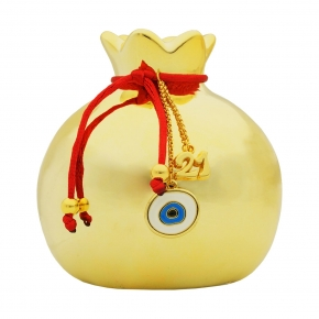 Lucky charm ceramic pomegranate with motif made of metal (size 9cm ) - Wish Luck