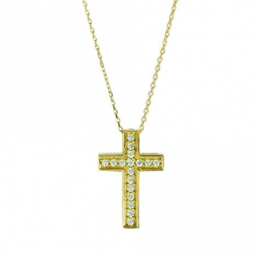 Cross gold 14 carats double face with zirconia - My Gold