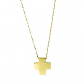 Cross gold 14 carats double face with enamel - My Gold