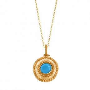 Necklace silver 925 yellow gold plated with turqoise - Color Me