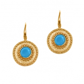 Earrings in silver 925 yellow gold plated with turqoise - Color Me